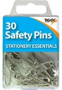 Tiger Stationery Pack of 30 Steel Safety Pins